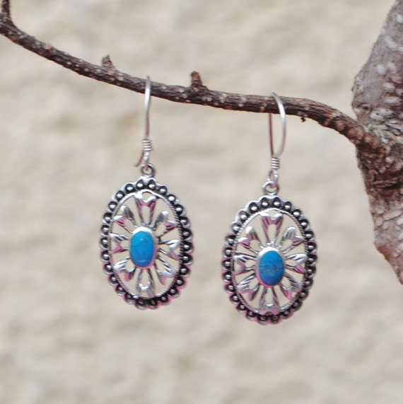 Boucles d'oreilles vintage en turquoise et argent 925