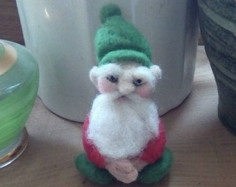 Unique little needle felted seated gnome