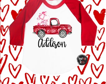Valentine's Day Truck Shirt - Personalized Red Truck - Valentine's Day Car Shirt - Cute Valentine Shirts - Girls' Shirts - Holiday Shirts