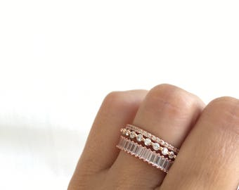 Rose Gold Eternity Ring Set. Stackable Rings. Rose Gold Stacking Rings. Wedding Bands. Set Of Three Rings. Eternity Bands. Rose Gold Rings.