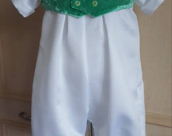 Baby Christening Romper Suit, Baptism Romper Suit. Satin Romper, Christening suit, Blessing Romper, Boy Romper. 6-9 months from JQDresses