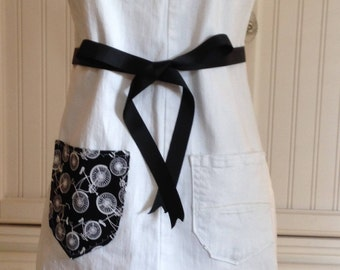 Denim full apron, women's denim apron dress, Black striped ruffle black ribbon ties white denim shabby chic upcycled denim black white bikes