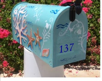 hand painted mailboxes beach tropical  ready to ship whimsical, coral waves personalized,  shells turquoise,  wedding card seashore starfish
