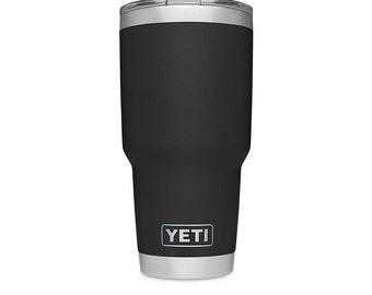 REAL YETI 30 oz. Laser Engraved Black Stainless Steel Yeti Rambler Personalized Vacuum Insulated YETI