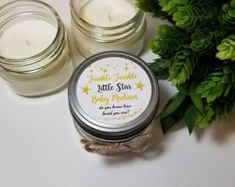 12 -  4 oz Baby Shower Candle Favors - Twinkle Twinkle Little Star - Baby Boy Shower - Girl Baby Shower - Personalized Favors - Soy Candle