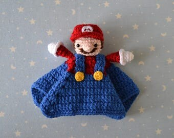 Marío Bross, baby Marío Bross, doudou, amigurumi Marío Bross, nintendo, snowman Marío Bross, gift, newborn baby