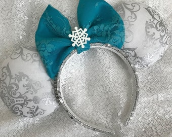 Inspired Frozen Elsa Winter / Christmas Minnie / Mickey Mouse Ears