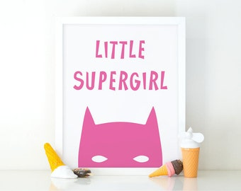 Little supergirl, Nursery Art, Instant Download, Room Decor, Nursery print, Comic print, Printable art, wall art, Girls poster, Pink print