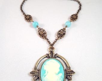 "The Vampire Diaries ""Katherine"" Aigue-Marine Bronze Necklace"