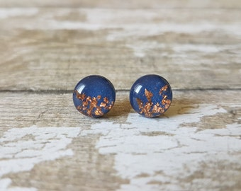 Blue and copper earrings, Modern earrings blue navy, Dark blue earrings copper, Gift for sister christmas, Navy blue jewelry, Cute studs