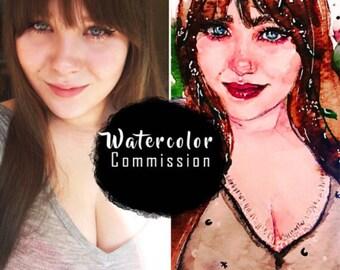 Watercolor Commission / Custom watercolor Portrait / Custom profile picture