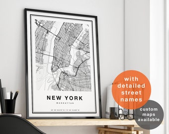 New York Map, New York City Map Print, Manhattan Map Print, NYC Map Print, Manhattan Map Poster, NY Map Wall Art, City Map Art, Map Of NYC