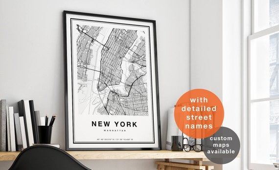 new york map new york city map print manhattan map print. Black Bedroom Furniture Sets. Home Design Ideas