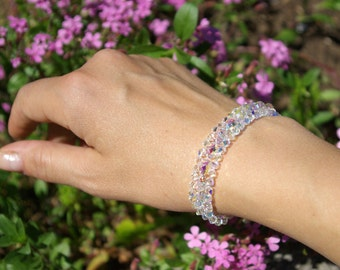 Swarovski AB Bracelet Briolette Bracelet Bridal Wedding Crystal Bracelet Swarovski Clear AB Bracelet Statement Bracelet Bridesmaid Jewelry
