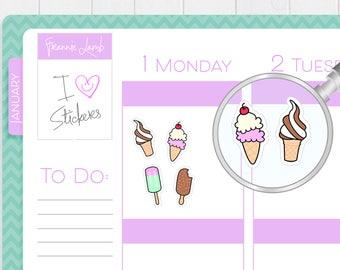 Ice Cream Planner Stickers, Planner Stickers, Dessert Stickers, Kawaii Stickers, Small Stickers, Labels