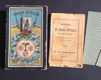 c.1890 Old French Tarot Deck Grand Etteilla 78 Cards B.P GRIMAUD Paris VERY RARE