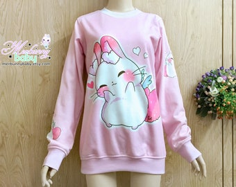 Sweatheart angel bunny - Oversized sweatshirt, kawaii sweatshirt, cute bunny sweatshirt, pink long sweatshirt, chubby bunny sweatshirt - SS4