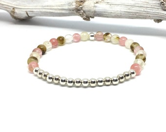 Gemstone bracelet with pink cherry Quartz beads and 925 Sterling silver beads
