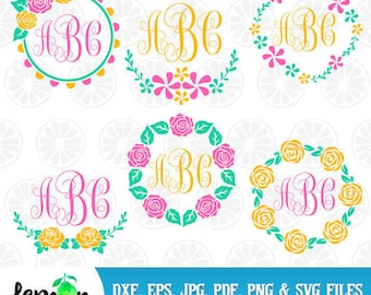 Floral Flower Wreaths svg, spring frames, floral flower png, monogram frames, spring monogram, instant download, spring svg, Floral01