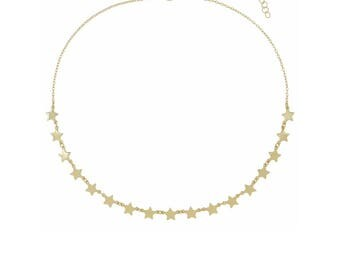 Carina Gold Star Choker, Gold Star Charm Choker, Delicate Gold Necklace, Adjustable Gold Link Celestial Necklace Choker