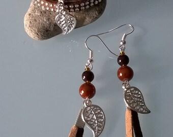 Bracelet + earrings Brown leaves