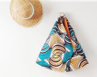 Cabas wax terra cotta et lagon / Sac Origami réversible / Sac japonais femme / Tote bag tissu africain / Upcycling