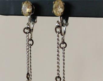Vintage Midcentury Crystal Drop Earrings