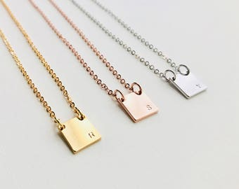 Square Initial Necklace | Personalized Necklace | Tag Necklace | Personalized Tag | Custom Necklace | Initial Necklace | Rectangle Necklace