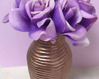 Centerpiece-Copper vase with purple/lavender roses(baby shower, bridal shower, wedding,gifting)