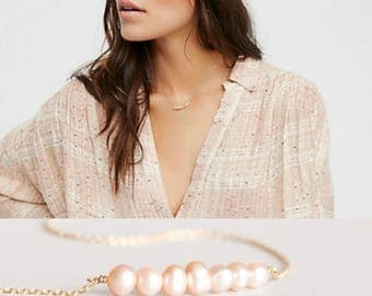 Freshwater Pearl Necklace • Everyday Necklace • Pink Pearl necklace • Ivory Pearl necklace • Pearl Bar necklace • Pearl Jewelry •
