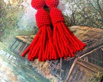 Red color/oscar de larenta/Short-tassel/handmade/ clip on earrings/earrings tassels/Unique Gift