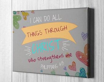 Philippians 4:13 Canvas Hearts