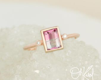 Emerald Cut Pink Tourmaline Ring - Baby Pink Ombre Tourmaline  - Diamonds on Band