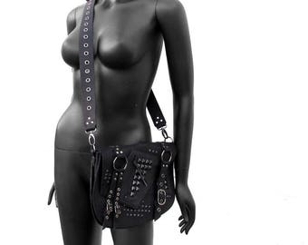 Summer Sale! 15% off - ROGUE - Black Leather and Gunmetal Studded Punk Messenger Bag
