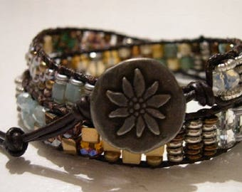 Leather Wrap Bracelet, Beaded Wrap Bracelet, Boho Bracelet - 921