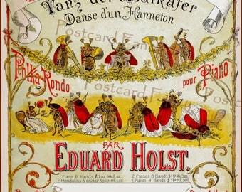 RARE Vintage Sheet Music, The JUNE Bugs Dance, Instant Digital Download, Printable Fantasy Image