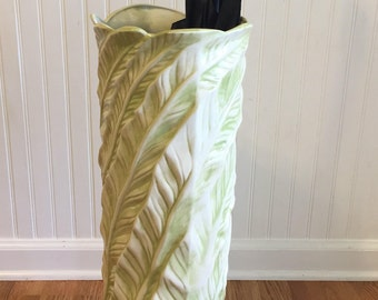 """PALM LEAF UMBRELLA Stand, Ceramic, 1970's, Green and White, 23"""" X 9"""", Palm Beach Chic, Hollywood Regency, Tropical Decor at Ageless Alchemy"""