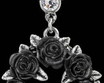 Black Rose Wreath necklace ~ with Swarovski crystal