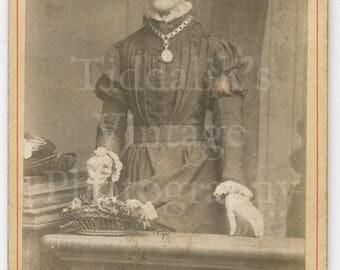 CDV Carte de Visite Photo Victorian Woman Standing Holding Basket of Flowers, Large Pendant Portrait - Geldard of Leeds England - Antique