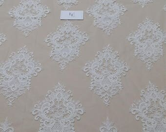 Ivory lace fabric, Embroidered lace, French Lace, Wedding Lace, Bridal lace, White Lace, Veil lace, Lingerie Lace, Alencon Lace EVS152C