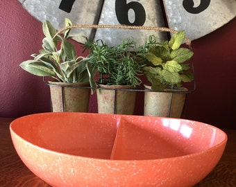 Melamine Orange Speckled Divided Serving Dish.  Melmac Orange Speckled Divided Serving Bowl.