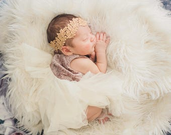 Baby Headband, Gold Headband Baby, Baby Boho Headband, Lace Baby Headband, Gold Leaf Headband, Newborn Baby Girl Headband, Gold Headbands