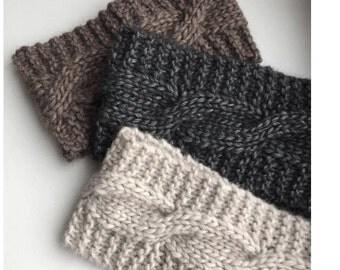 Knit headband 4 colors Alpaca headband  Cable Headband Women headband Wool Wide headband for women Hand knit hair band Winter Headband