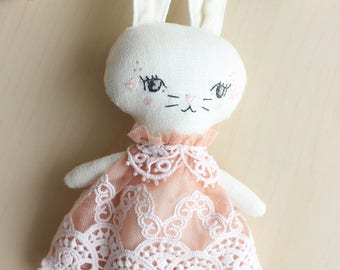 "Heirloom doll, Little Bunny Rabbit, Linen & lace, about 9.5"" tall by Liberty Lavender Dolls. Hand Dyed and OOAK."