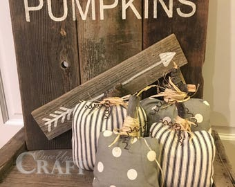 Farmhouse Fabric Pumpkin Pillow | Rustic Pumpkin Decor | Striped Pumpkin | Polka Dot Pumpkin | Fabric Pumpkin Decor | Fall Farmhouse Decor