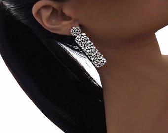 BAGUETTE DROP EARRING - drop earrings, evening earrings, silver earrings, statement earrings, diamond earrings, shiny earrings