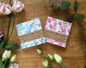 Floral Memo Pads in 2 Designs. Forget-me-not Memo Pad & Red Campion Flower Memo Pad. Stationery Gift Set.