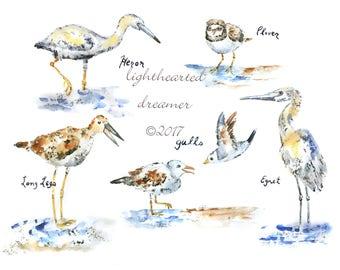 Beach house art, Bird Print, Beach Decor, watercolor birds, Beach Wall Art, beach nursery art, Nautical, Coastal Decor, Beach Themed Nursery