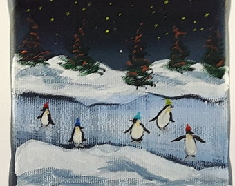 """1 hanging ornament, """"Penguins skating"""" on 4""""x4"""" canvas, hand painted"""