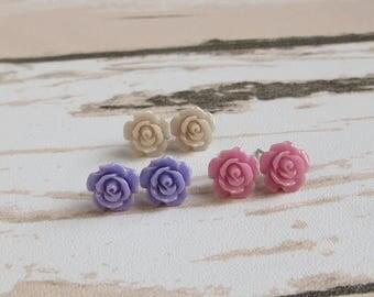 Dainty Rose Stud Earrings, Purple Rose, Violet, Orchid, Pale Plum, Floral Jewelry, Flower Girl Earrings